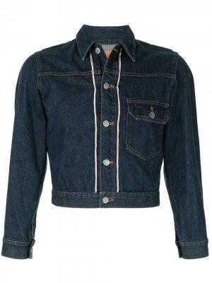 Укороченная джинсовая куртка Sports Line 1980-х годов Issey Miyake Pre-Owned. Цвет: синий
