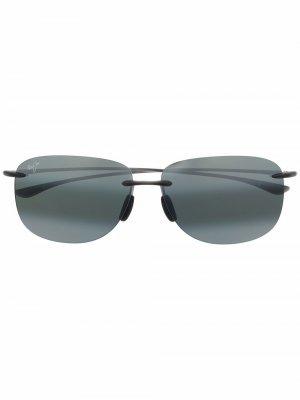 Солнцезащитные очки-авиаторы с затемненными линзами Maui Jim. Цвет: серый