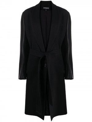 Пальто с контрастным поясом Ann Demeulemeester. Цвет: черный
