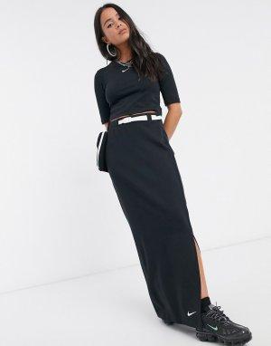 Черная юбка макси с карманом в стиле милитари Тech Рack-Черный Nike
