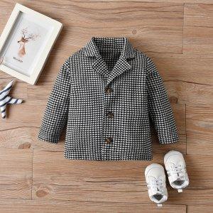 Детский Пальто с принтом хаундстут лацканами SHEIN. Цвет: черный и белый