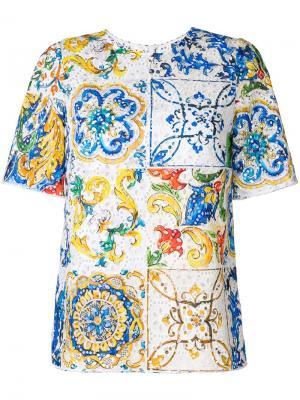Футболка с ажурной вышивкой и принтом Majolica Dolce & Gabbana. Цвет: разноцветный