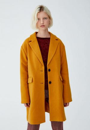 Пальто Pull&Bear. Цвет: оранжевый