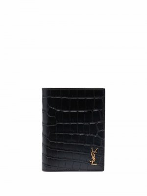 Кошелек с тиснением под крокодила и логотипом Saint Laurent. Цвет: черный