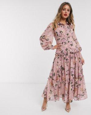 Платье макси с цветочным принтом -Розовый Bardot