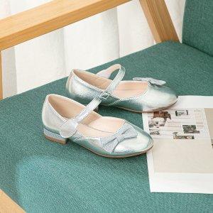 Для девочек Туфли мэри джейн с бантом металлический SHEIN. Цвет: серебряные
