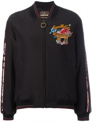 Куртка бомбер с вышивкой Roberto Cavalli. Цвет: чёрный