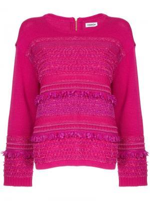 Твидовый свитер COOHEM. Цвет: розовый