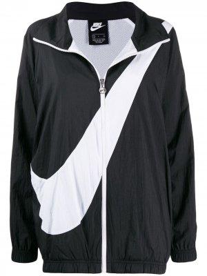 Ветровка на молнии Nike. Цвет: черный
