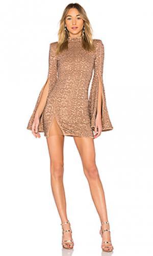 Платье с высоким воротником и расклешенными рукавами mr. gibson Michael Costello. Цвет: металлический бронзовый