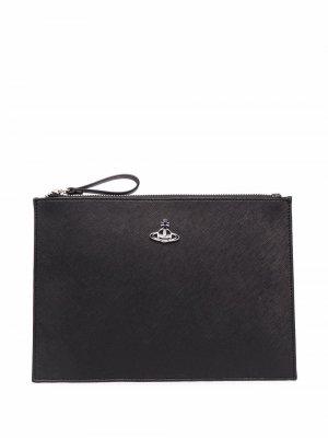 Клатч с логотипом Vivienne Westwood. Цвет: черный