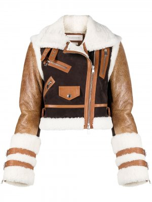 Укороченная байкерская куртка со вставками Alexander McQueen. Цвет: коричневый