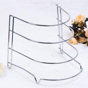 Подставка для хранения сковород доляна, 24×27×26 см, цвет хром Доляна