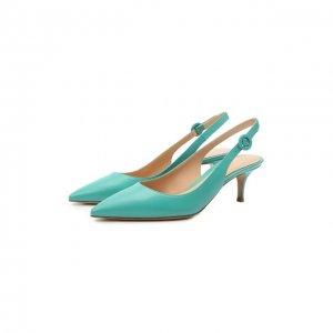 Кожаные туфли Anna Gianvito Rossi. Цвет: зелёный