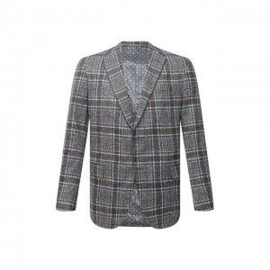 Пиджак из шелка и шерсти Zilli. Цвет: серый
