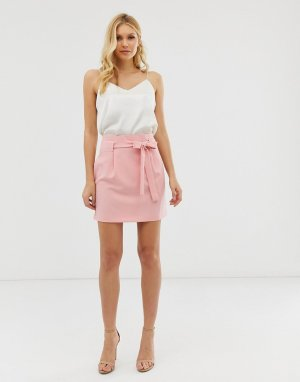 Мини-юбка с поясом оби -Розовый ASOS DESIGN