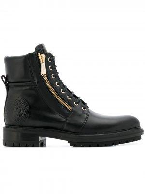 Байкерские ботинки на шнуровке Balmain. Цвет: черный