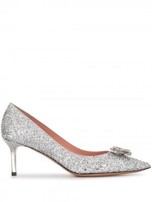 Туфли-лодочки Crystal-R с блестками Rochas. Цвет: серебристый