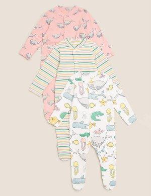 Комбинезон-слип из органического хлопка с изображением животных (3 шт) Marks & Spencer. Цвет: мульти