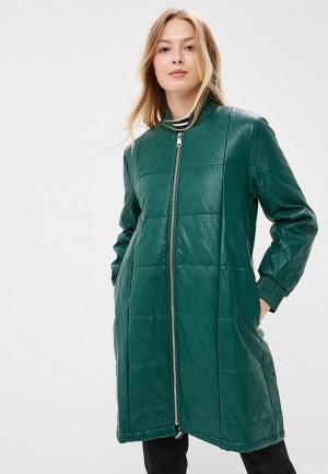 Куртка кожаная Rinascimento. Цвет: зеленый