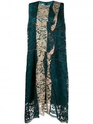 Платье асимметричного кроя с кружевными вставками Antonio Marras. Цвет: зеленый