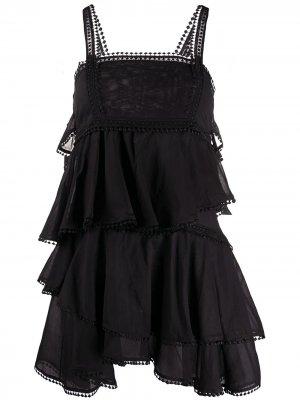 Поплиновое платье с вышивкой Charo Ruiz Ibiza. Цвет: черный