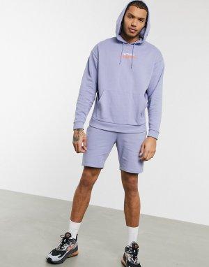 Фиолетовый спортивный костюм из oversized-худи и узких шорт ASOS DESIGN