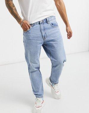 Голубые выбеленные джинсы прямого кроя в винтажном стиле -Голубой Bershka