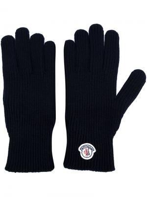 Перчатки с логотипом Moncler. Цвет: синий