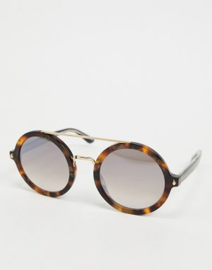 Круглые солнцезащитные очки черного цвета Etro-Черный ETRO