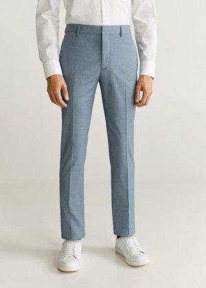 Костюмные брюки super slim fit с мелкой фактурной выделкой - Paulo Mango. Цвет: небесно-голубой