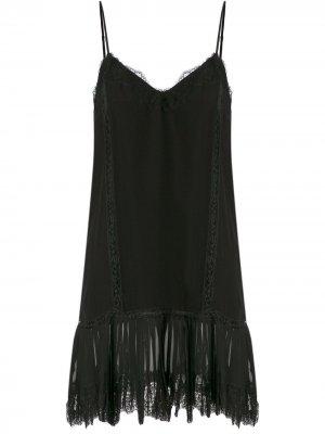 Кружевное платье на тонких лямках-спагетти Gold Hawk. Цвет: черный