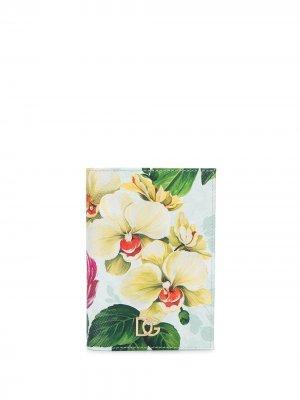 Обложка для паспорта с цветочным принтом Dolce & Gabbana. Цвет: синий