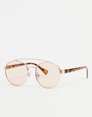 Золотистые солнцезащитные очки-авиаторы в черепаховой оправе -Золотистый AJ Morgan
