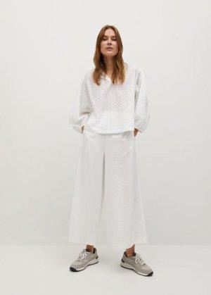 Хлопковая блузка с ажурной вставкой - Ramo-h Mango. Цвет: грязно-белый