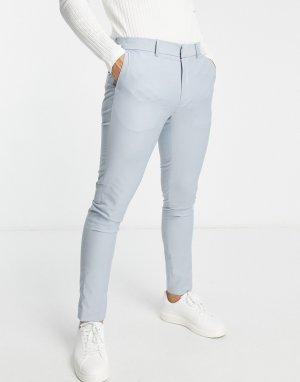 Светло-голубые зауженные костюмные брюки -Синий New Look