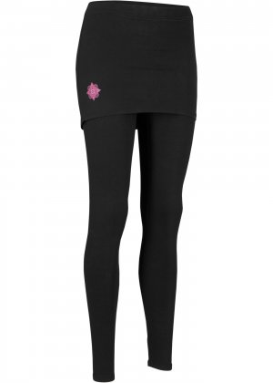 Легинсы спортивные с юбкой, Level 2 bonprix. Цвет: черный