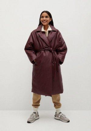 Куртка кожаная Mango - KETCHUP. Цвет: бордовый