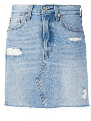 Levis джинсовая юбка с эффектом потертости Levi's. Цвет: синий
