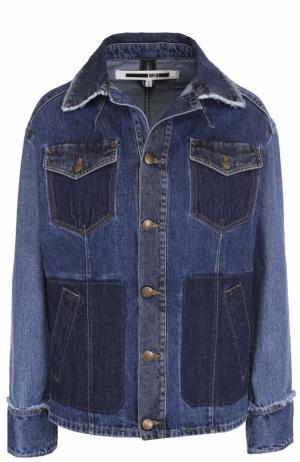 Джинсовая куртка прямого кроя с потертостями MCQ. Цвет: темно-синий