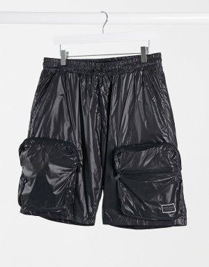 Черные нейлоновые шорты в стиле милитари -Черный Criminal Damage