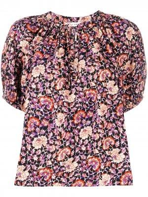 Блузка с короткими рукавами и цветочным принтом Ulla Johnson. Цвет: черный