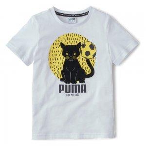 Детская футболка Animals Suede Tee PUMA. Цвет: белый