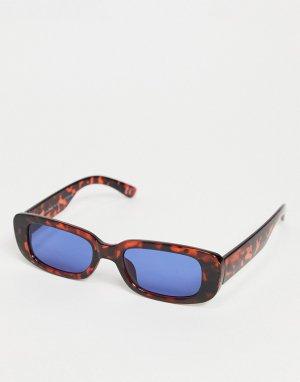 Солнцезащитные очки в черепаховой оправе скругленной прямоугольной формы с синими линзами -Коричневый цвет ASOS DESIGN