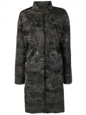 Пальто Diana с меховой отделкой Liska. Цвет: синий