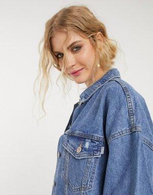 Синяя джинсовая oversized-куртка -Синий Bershka