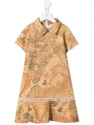 Платье с расклешенным подолом и принтом Alviero Martini Kids. Цвет: коричневый