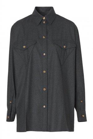 Серая шерстяная рубашка Burberry. Цвет: серый