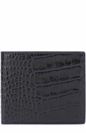 Кожаное портмоне с отделениями для кредитных карт Smythson. Цвет: темно-синий