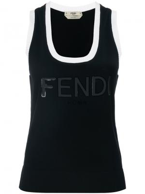 Contrast trim tank top Fendi. Цвет: черный